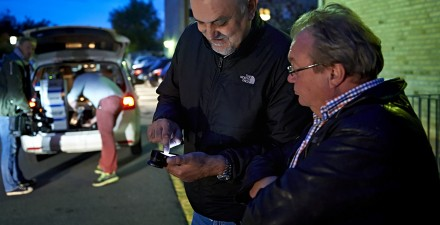 Mojo trainer and journalist Ivo Burum and Flemming Monster the Aarhus Editor of Danish tabloid Ekstra Bladet, use an iPhone to edit on location at a murder scene, while the TV camera person looks on, wondering how he can get the footage. Ivo and Flemming were already updating their earlier send